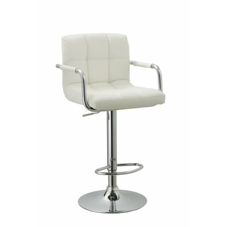 ACBS15 WHITE ADJUSTABLE HEIGHT SWIVEL BAR STOOL WITH CUSHION