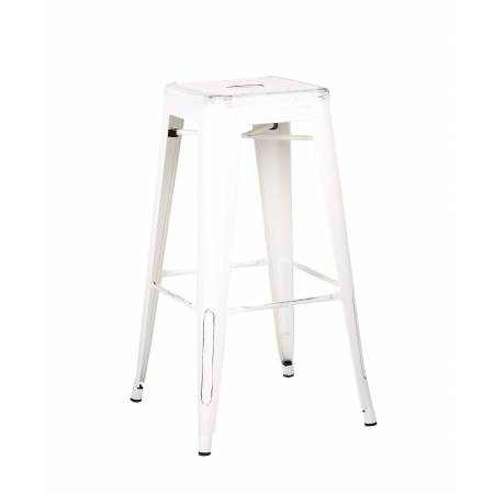 ACBS01 30 INCH WHITE STEEL STOOL SET OF 2
