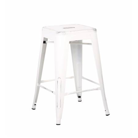 ACBS01 24 INCH WHITE STEEL STOOL SET OF 2