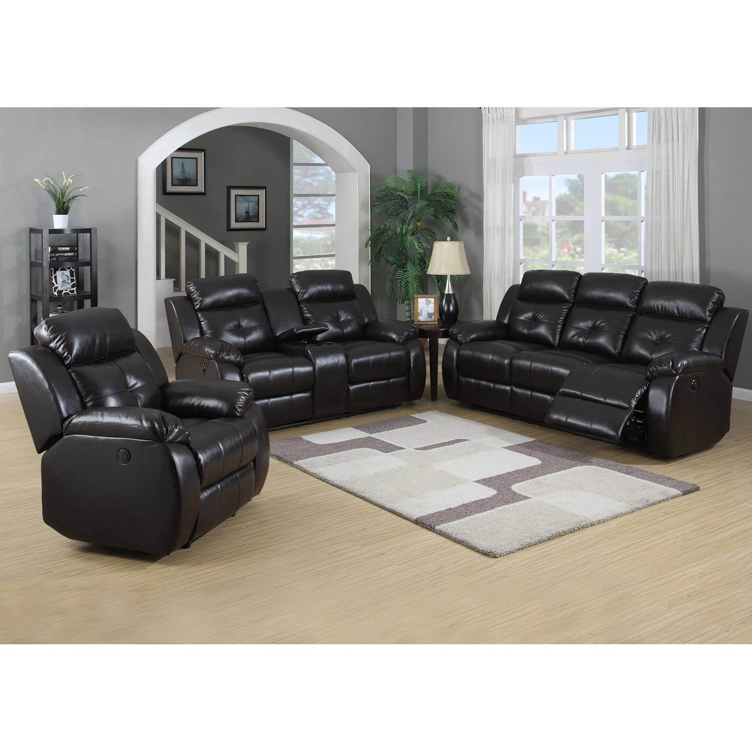 TROY BROWN 2 PCS POWER RECLINING SOFA LOVESEAT SET