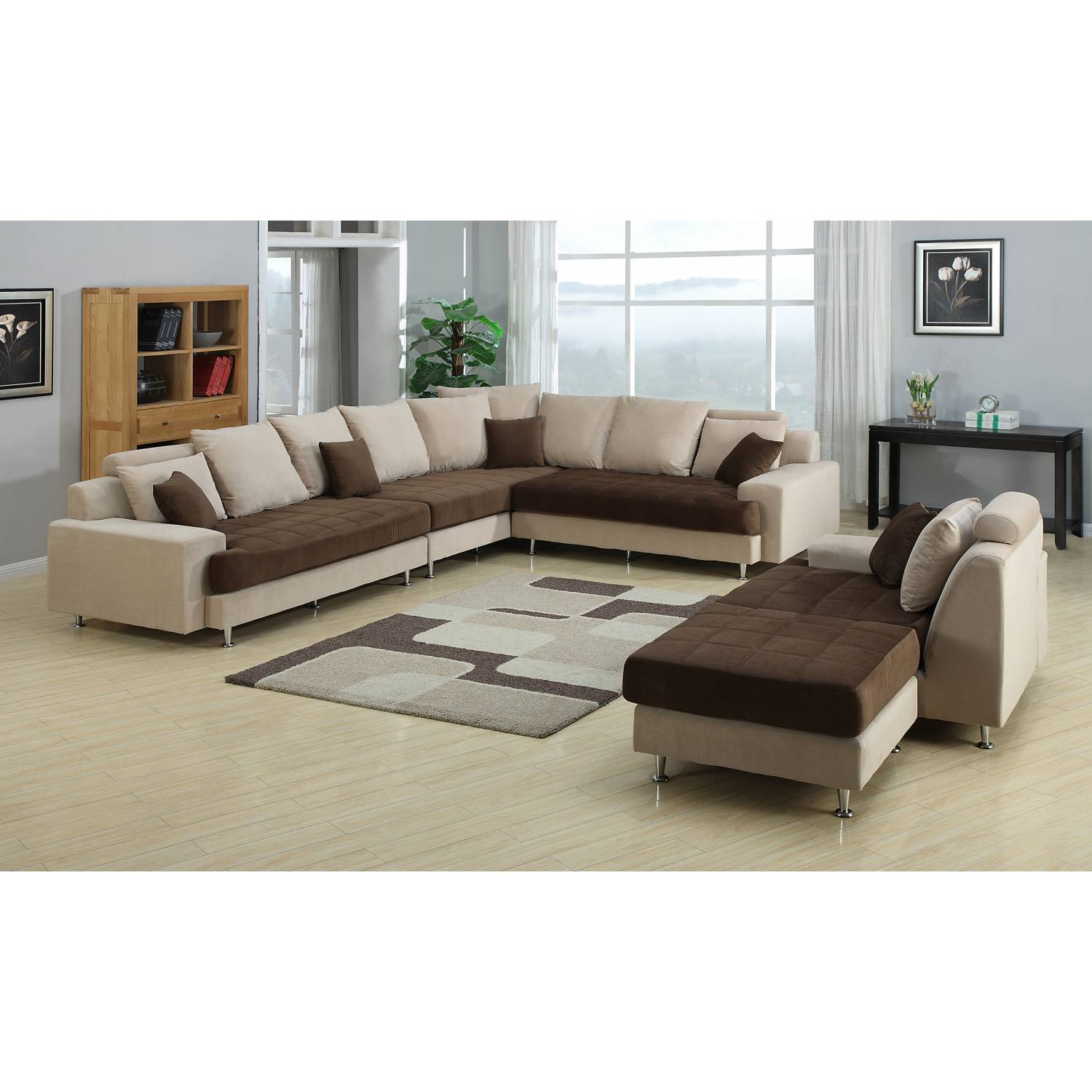 J2020 3 PIECES TWO TONE LIVING ROOM SET SECTIONAL SOFA SET