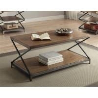 Fabio Contemporary Oak Antique Black Wood Metal Coffee Table