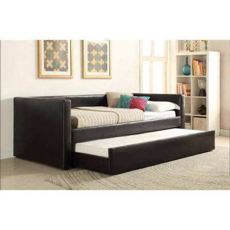 Aelbourne Black PU Wood Daybed & Trundle