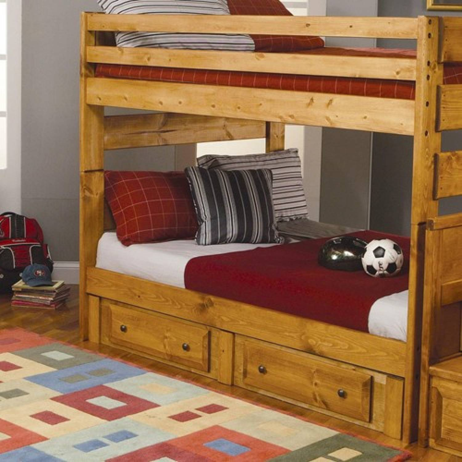 Wrangle hill full over full bunk bed with pull out trundle for Furniture 2 u