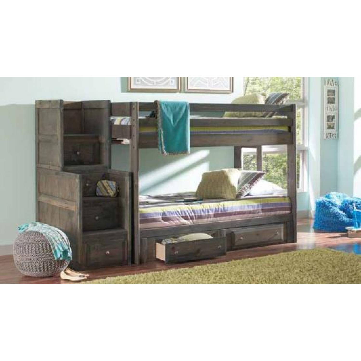 Wrangle Hill Twin Over Twin Bunk Bed With Built In Ladders