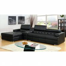 FLORIA 2 Pc. Set (Speaker Con) SECTIONAL + SPEAKER CONSOLE IN BLACK