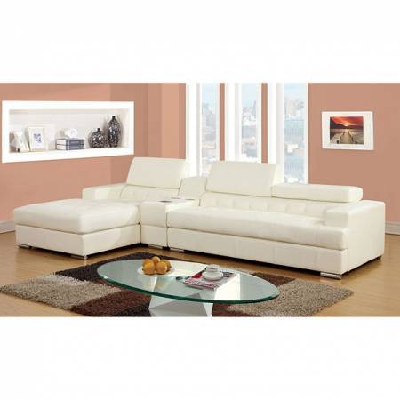 FLORIA 2 Pc. Set (Speaker Con) SECTIONAL + SPEAKER CONSOLE IN WHITE