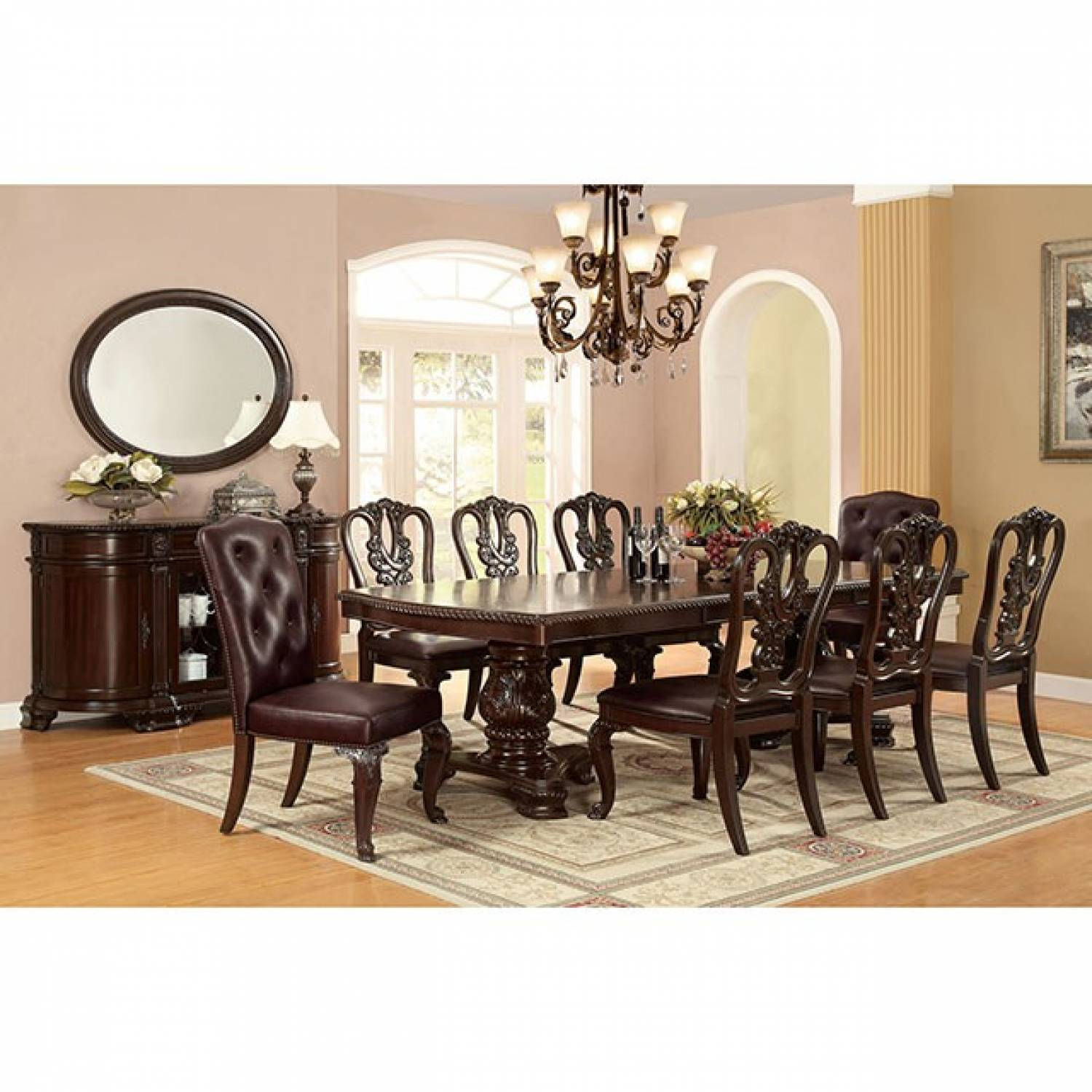 06942f90a08 Bellagio Brown Cherry 9 Pc Set (Table + 2 Fabric Arm Chairs + 6 Side ...