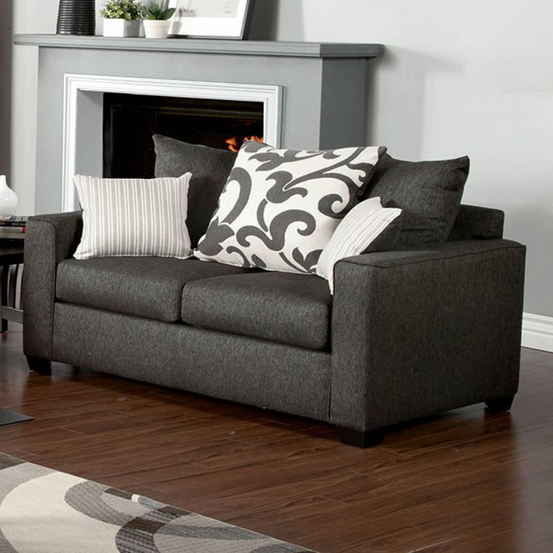 Colebrook sofa in charcoal 2 pc set sofa love seat for Furniture of america address