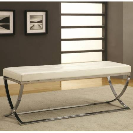 Benches Man-Made Leather Bench w/ Silver Metal Base