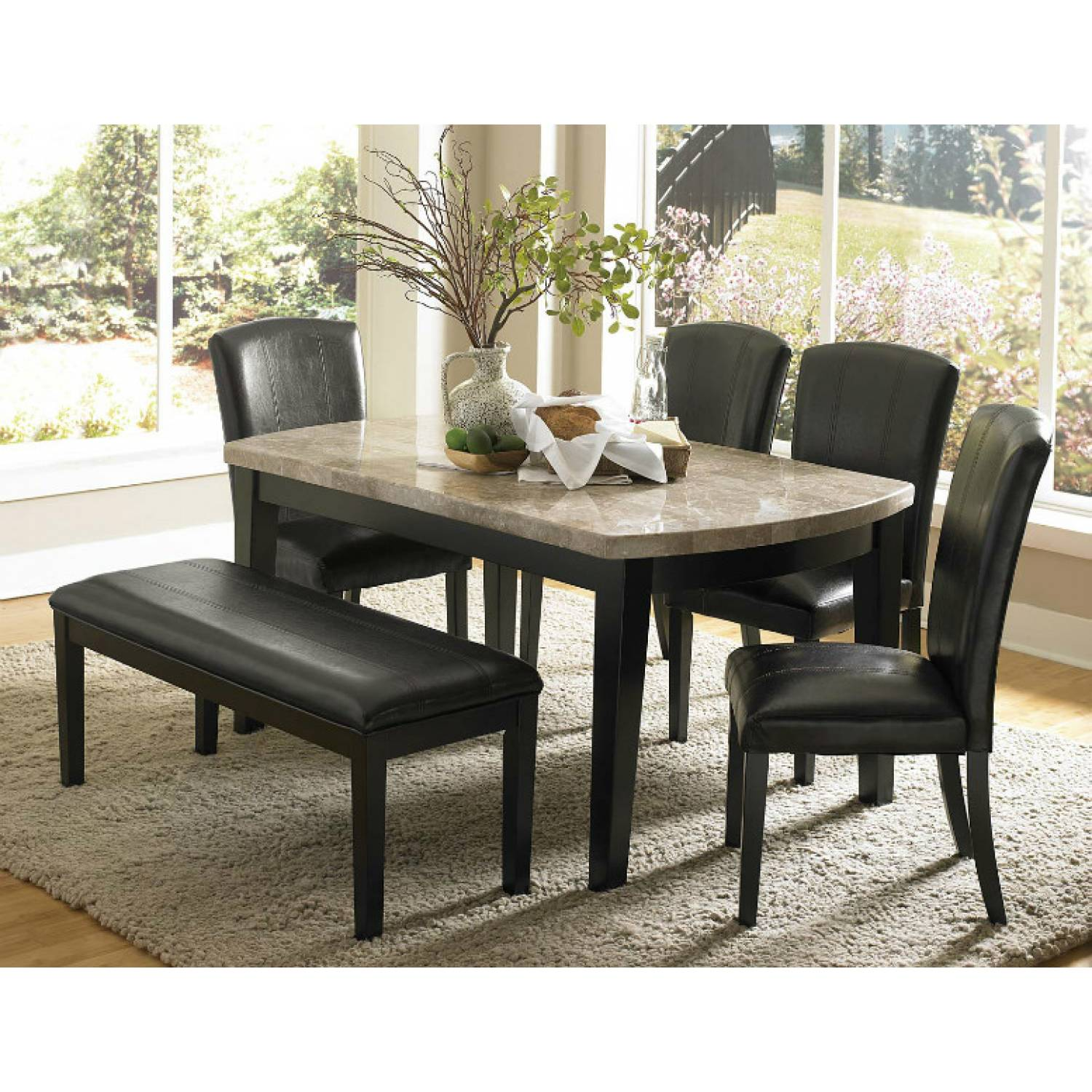 Cristo Dining Set Black Wood Marble Top 6 Pc (1 Table And 4 Side . Full resolution  picture, nominally Width 1500 Height 1500 pixels, picture with #81754A.