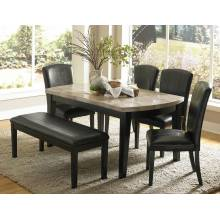 Cristo Dining Set - Black Wood - Marble Top 6 pc (1 Table and 4 side chair + 1 bench)