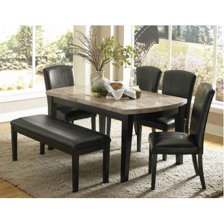 Cristo Dining Set - Black Wood - Marble Top 5 pc (1 Table and 4 side chair)