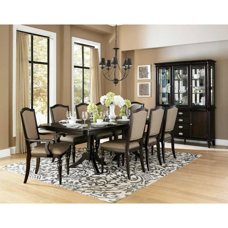 Marston Double Pedestal Dining Set - Neutral tone fabric - Dark ...