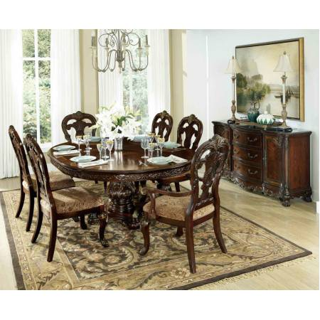 Round Pedestal Dining Set Cherry 5 Pc 1 Table And 4 Side Chair