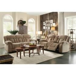 Laurelton Reclining Sofa Set - Taupe Fabric