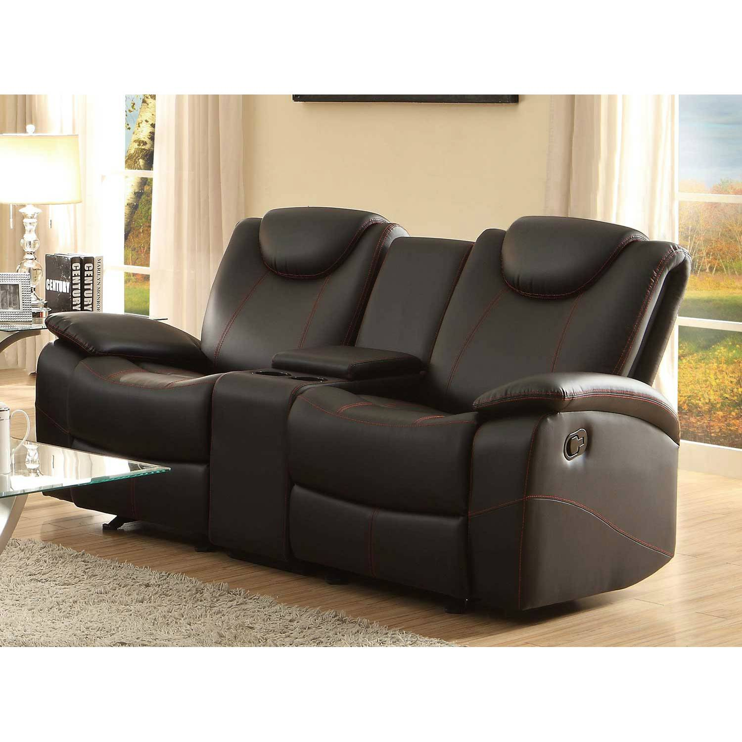 Brilliant Talbot Double Glider Reclining Love Seat With Center Console Black Bonded Leather Pabps2019 Chair Design Images Pabps2019Com