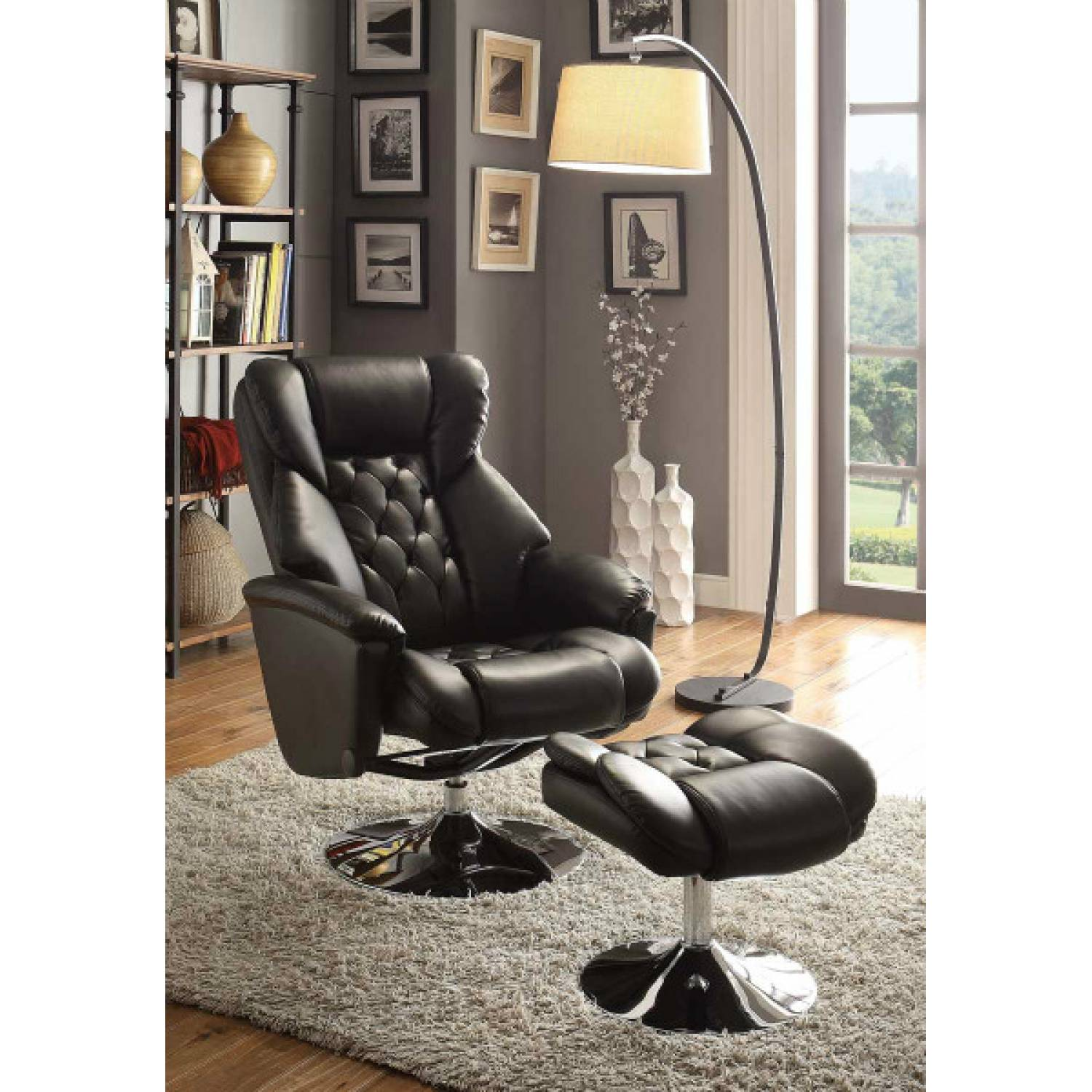 Super Aleron Swivel Reclining Chair With Ottoman Black Bonded Leather Match Pdpeps Interior Chair Design Pdpepsorg