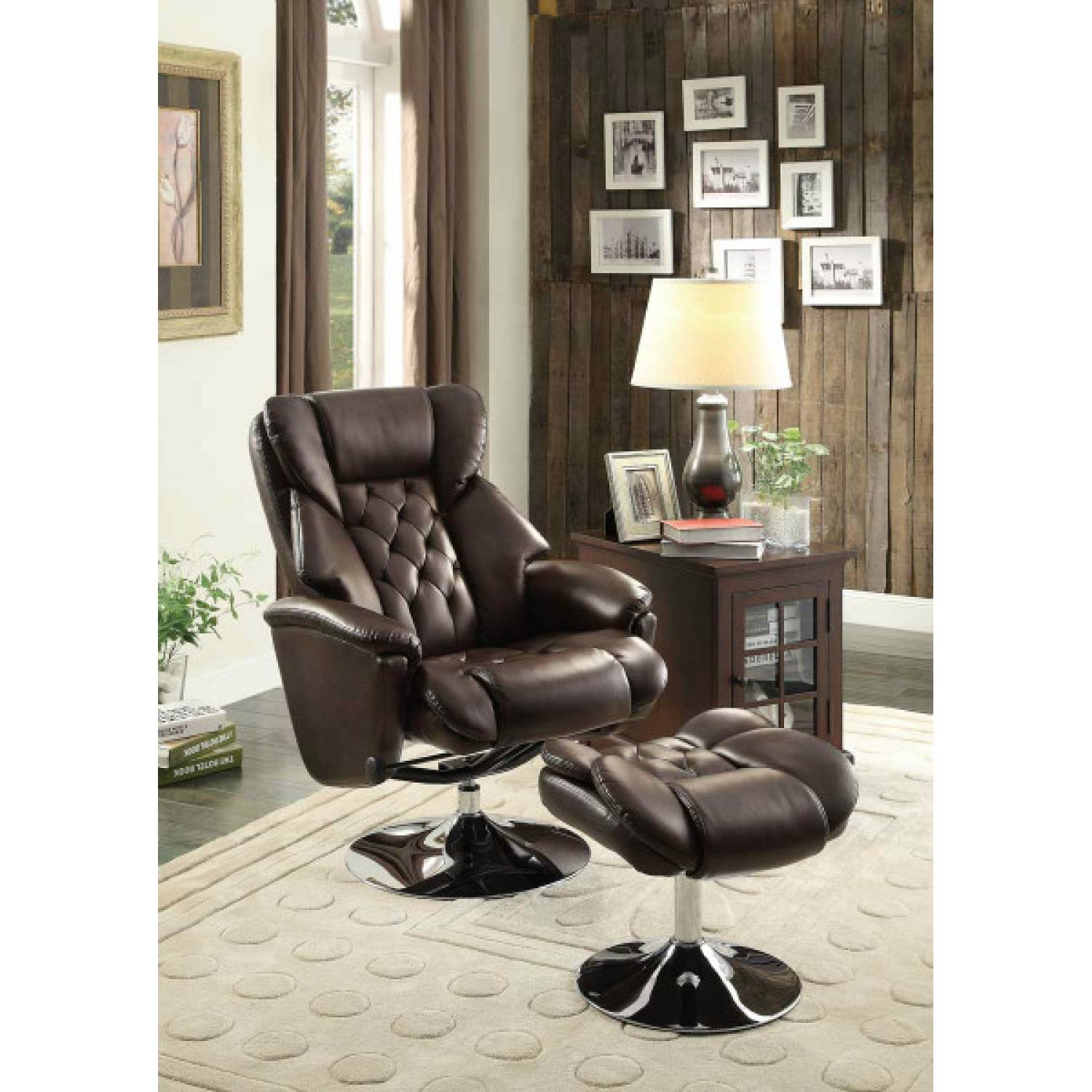 Wondrous Aleron Swivel Reclining Chair With Ottoman Dark Brown Bonded Leather Match Pdpeps Interior Chair Design Pdpepsorg