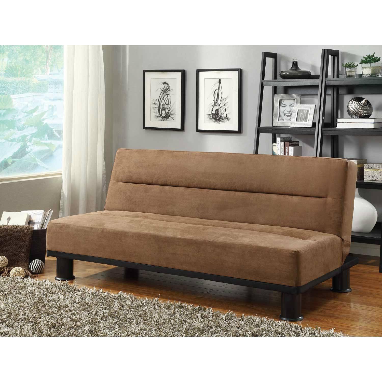 callie click clack sofa bed brown microfiber 4823br. Black Bedroom Furniture Sets. Home Design Ideas