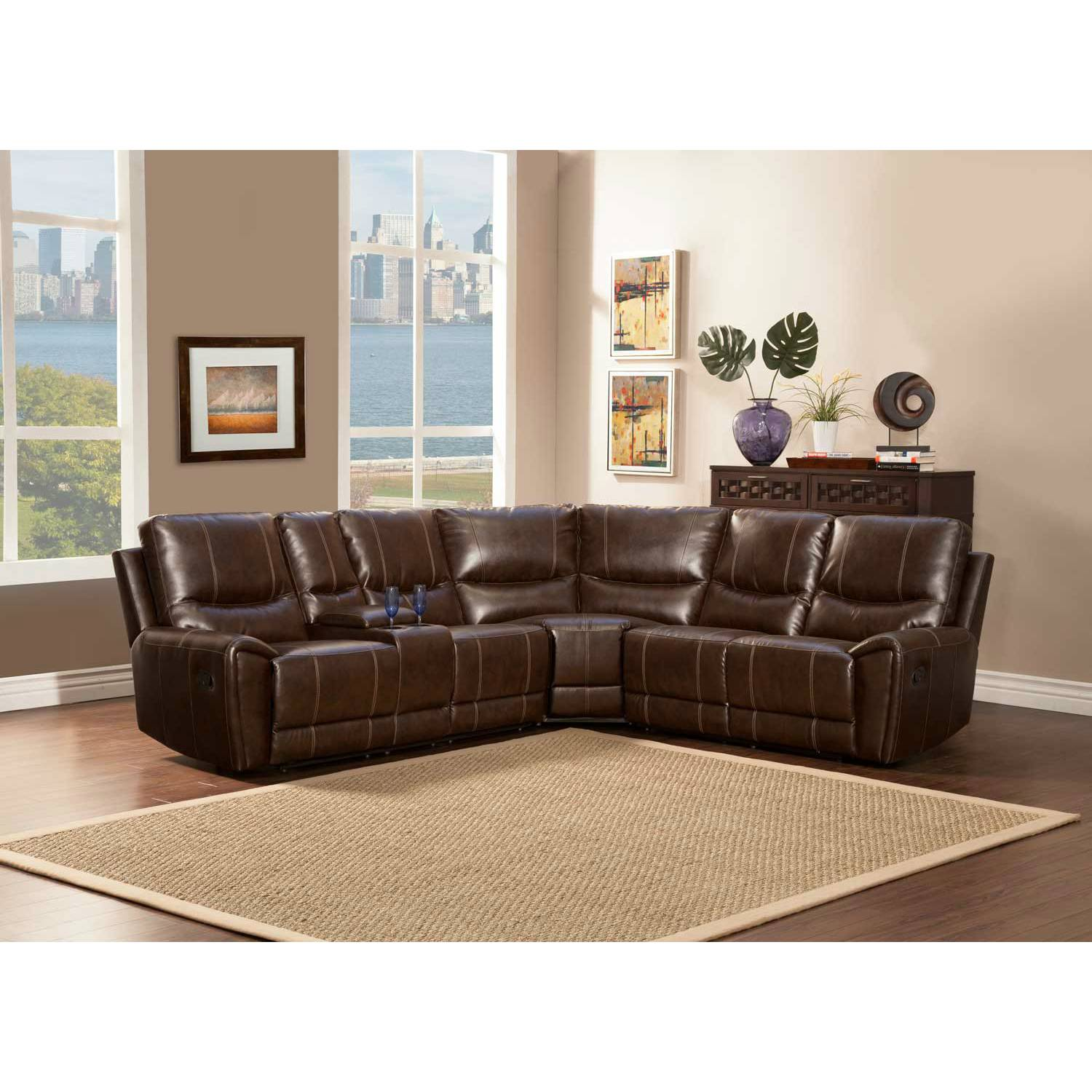 Gerald Sectional Sofa Set - Brown - Bonded Leather Match 9600 ...