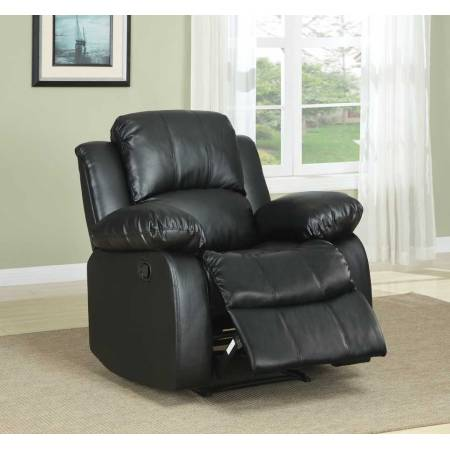 Cranley Reclining Chair - Black Bonded Leather 9700BLK-1 Homelegance
