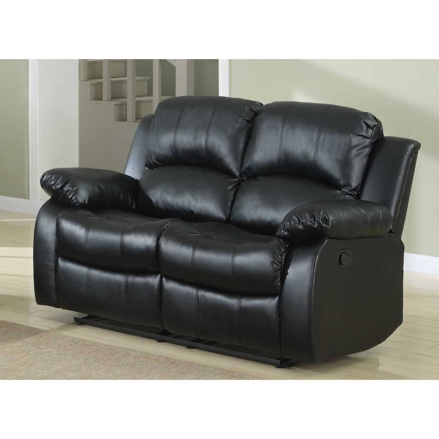 Cranley Double Reclining Love Seat Black Bonded Leather