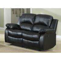 Cranley Double Reclining Love Seat - Black Bonded Leather 9700BLK-2 Homelegance