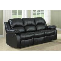 Cranley Double Reclining Sofa - Black Bonded Leather 9700BLK-3 Homelegance