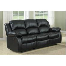 Cranley Double Reclining Sofa - Black Bonded Leather 9700BLK-3 Homelegance