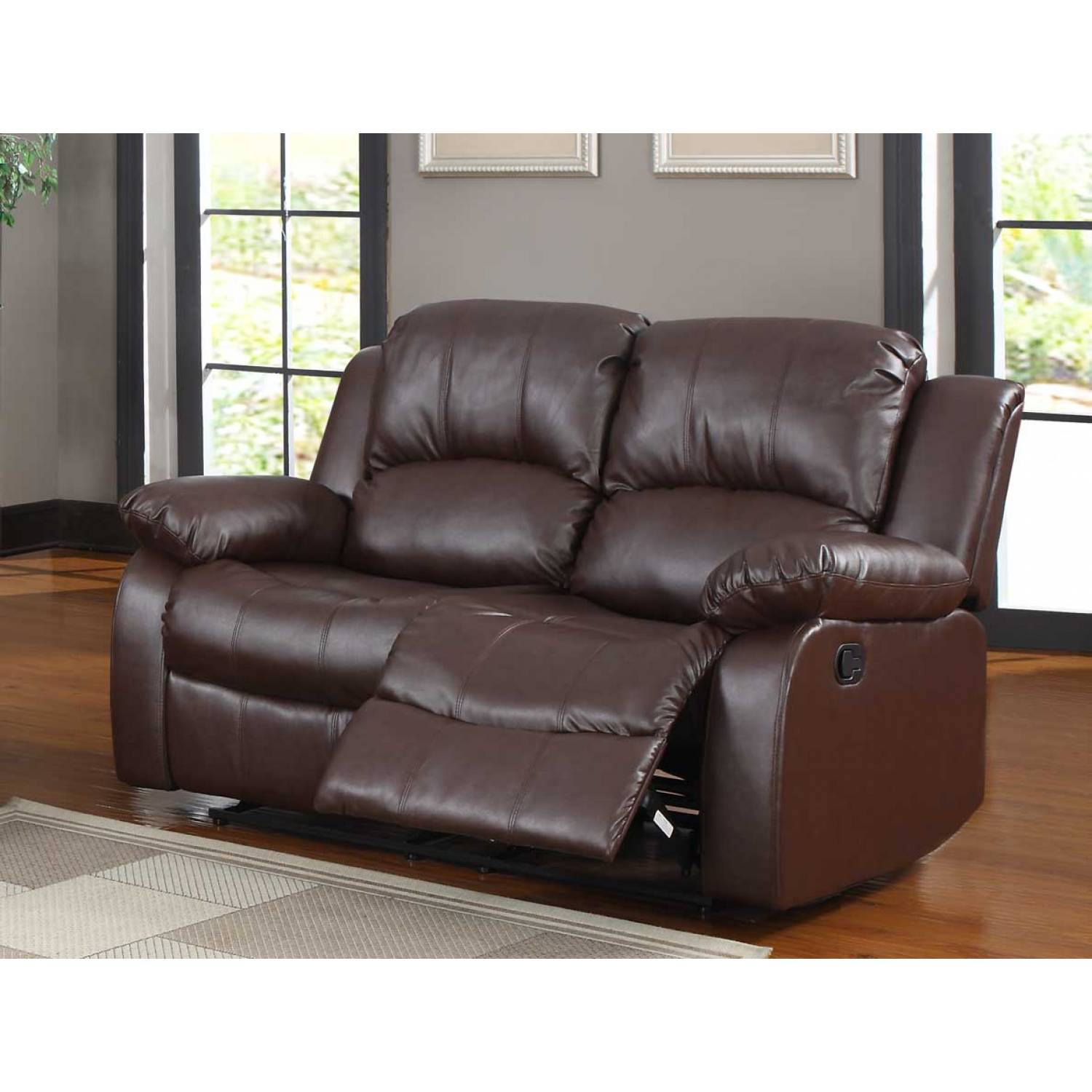 Cranley Double Reclining Love Seat Brown Bonded Leather