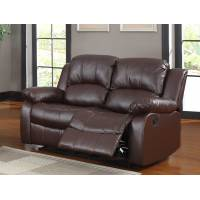 Cranley Double Reclining Love Seat - Brown Bonded Leather 9700BRW-2 Homelegance