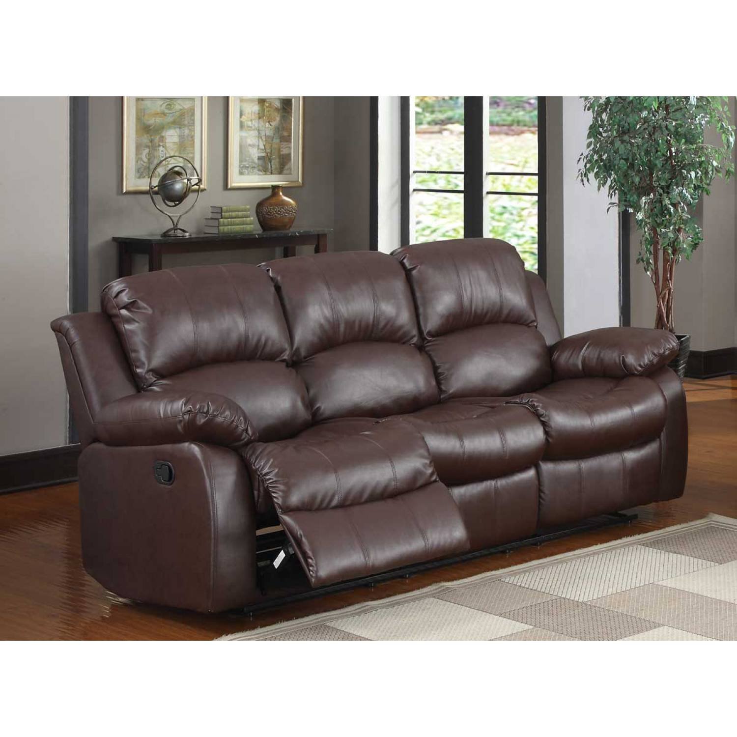 Cranley double reclining sofa brown bonded leather for Double leather sofa