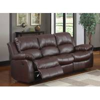 Cranley Double Reclining Sofa - Brown Bonded Leather 9700BRW-3 Homelegance
