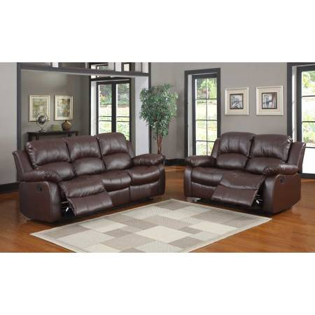2pc Cranley Reclining Sofa Set - Brown Bonded Leather 9700BRW Homelegance