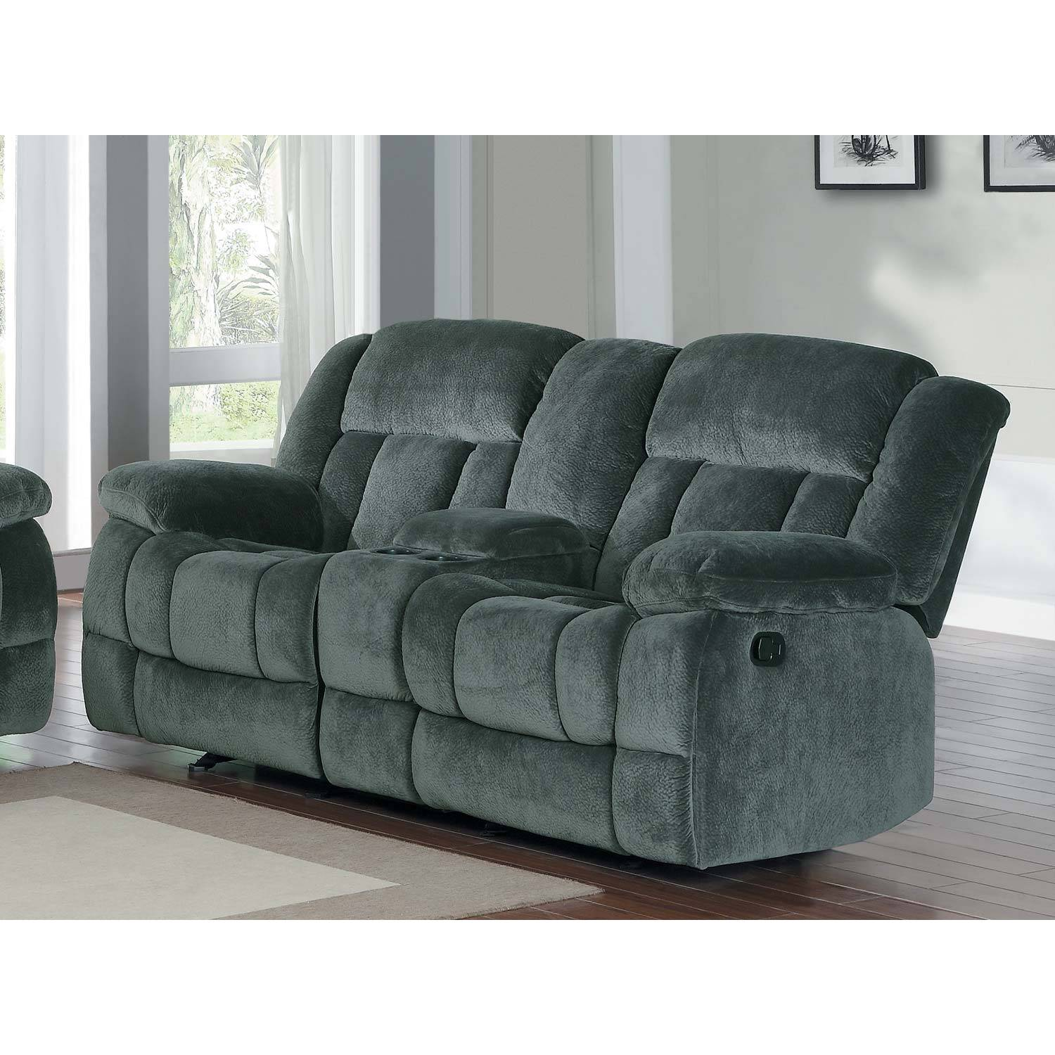 2pc laurelton reclining sofa set charcoal textured for Furniture 2 u