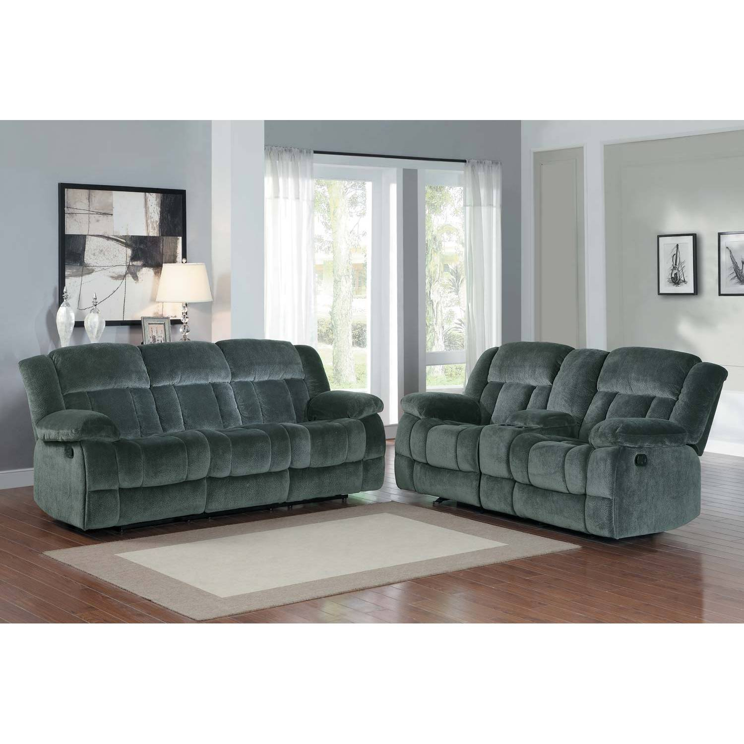 2pc Laurelton Reclining Sofa Set - Charcoal - Textured Plush Microfiber 9636CC Homelegance  sc 1 st  furnituredirects2u.com : microfiber reclining sofa sets - islam-shia.org