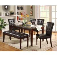 Decatur Dining Set- Espresso 6pc set (TABLE + 4 SIDE CHAIRS + 1 BENCH