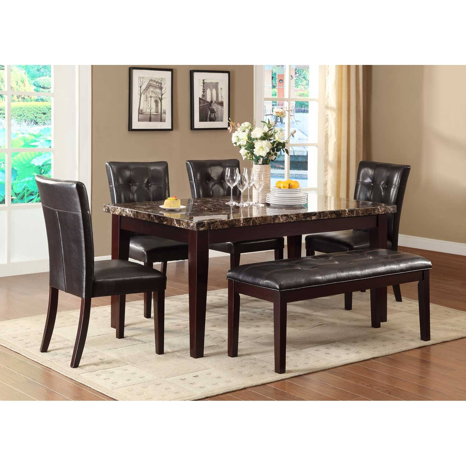 Teague Faux Marble Dining Set Espresso 5pc set TABLE  : 44 1500x1500 from furnituredirects2u.com size 1500 x 1500 jpeg 198kB