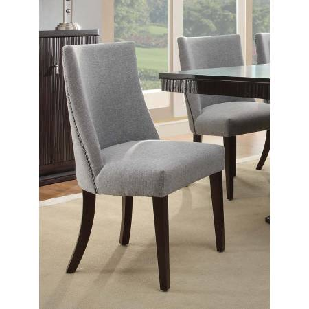 Chicago  Side Chair - Espresso  - Blue Grey Fabric 2588S