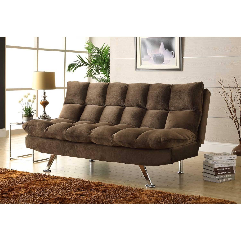 Jazz click clack sofa bed chocolate textured plush microfiber 4809ch