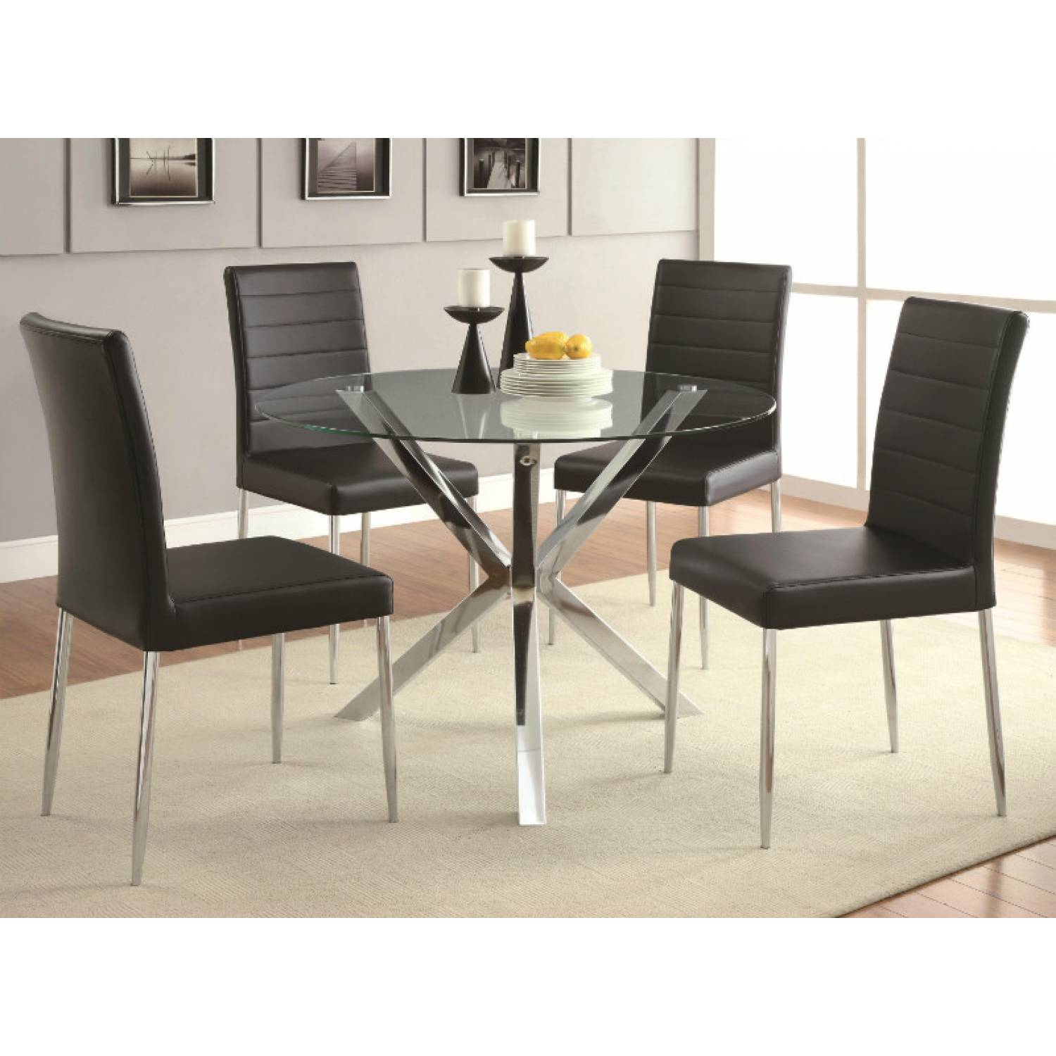 Vance Contemporary 5-Piece Glass Top Table And Chair Set