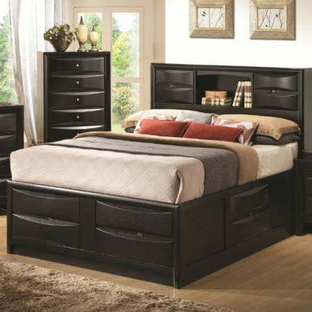 Briana Queen Contemporary Storage Bed with Bookshelf