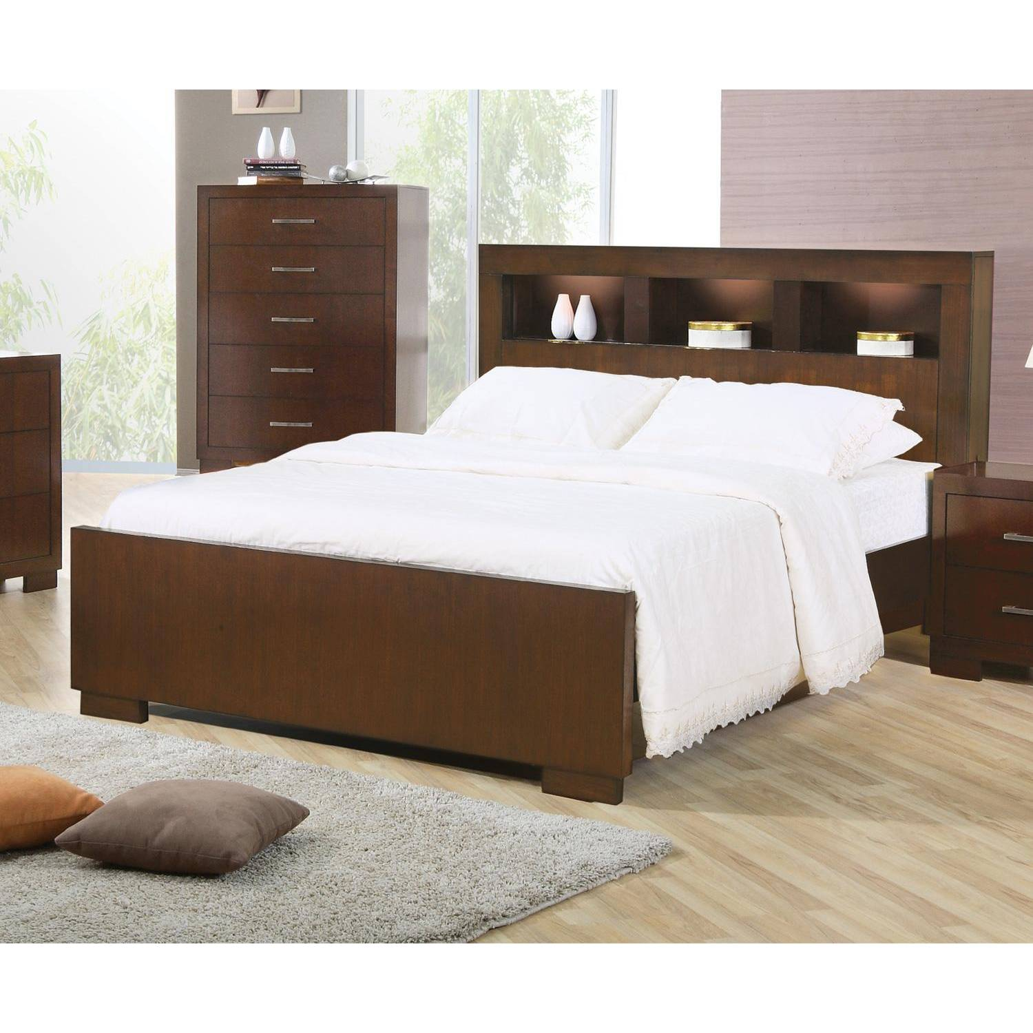 Jessica king contemporary bed with storage headboard and for Furniture 2 u