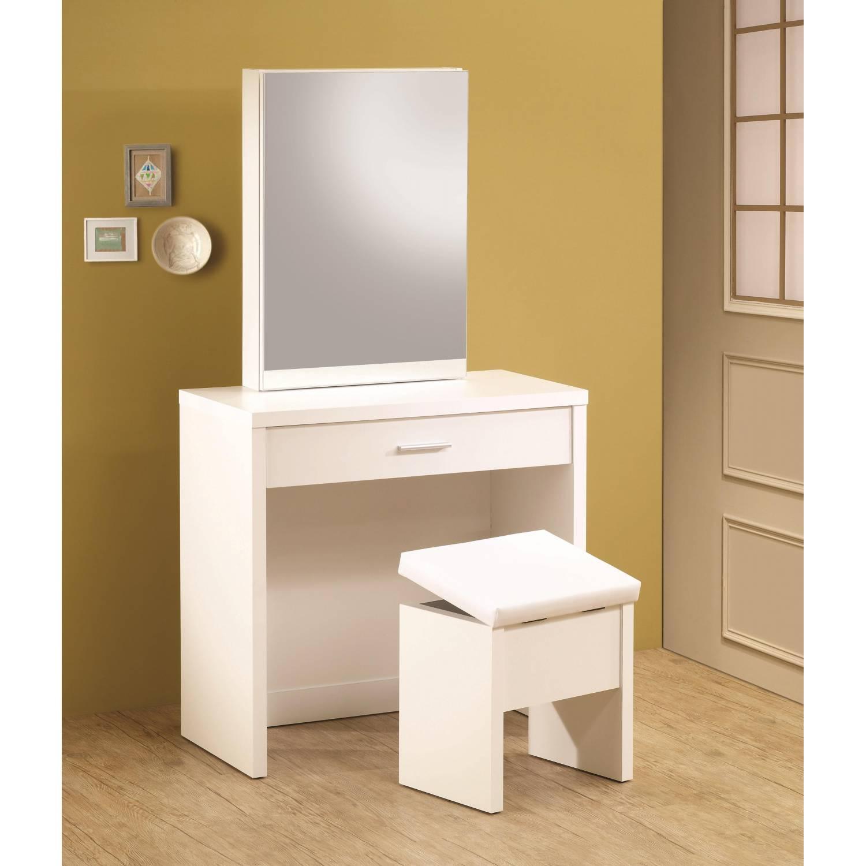 Vanities White Vanity with Hidden Mirror Storage and Lift Top Stool. White Vanity with Hidden Mirror Storage and Lift Top Stool