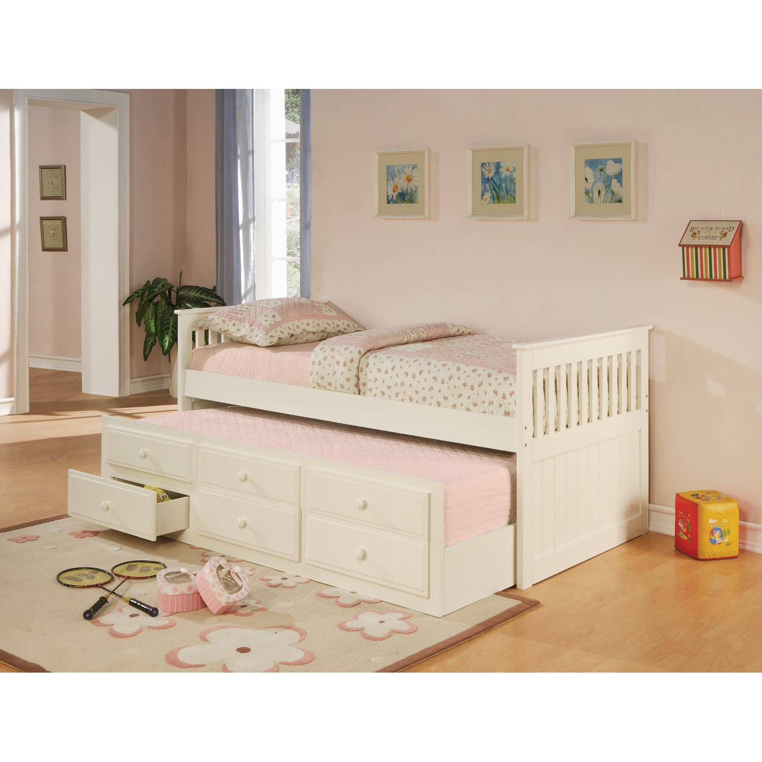 La Salle Twin Captains Bed With Trundle And Storage Drawers