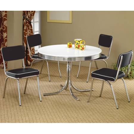Cleveland 5 Piece Round Dining Table & Upholstered Chairs