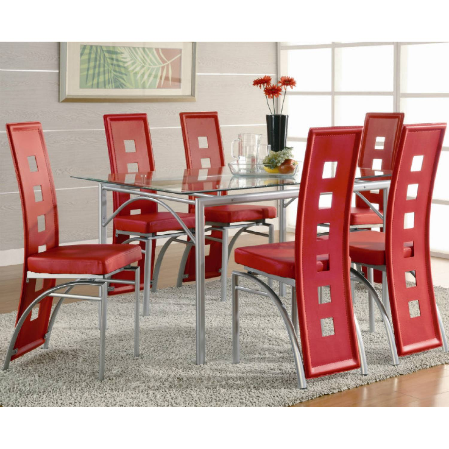 Red Dining Room Furniture: Los Feliz Contemporary Metal Dinner Table And Red