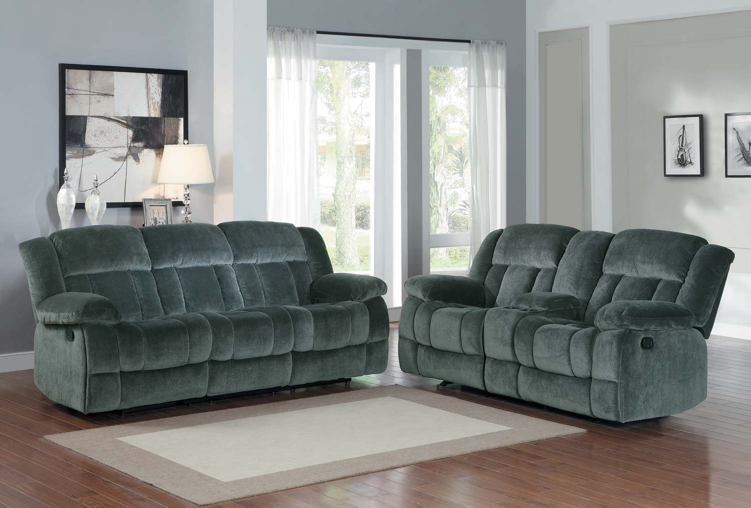 microfiber living room furniture 2pc laurelton reclining sofa set charcoal textured 14726