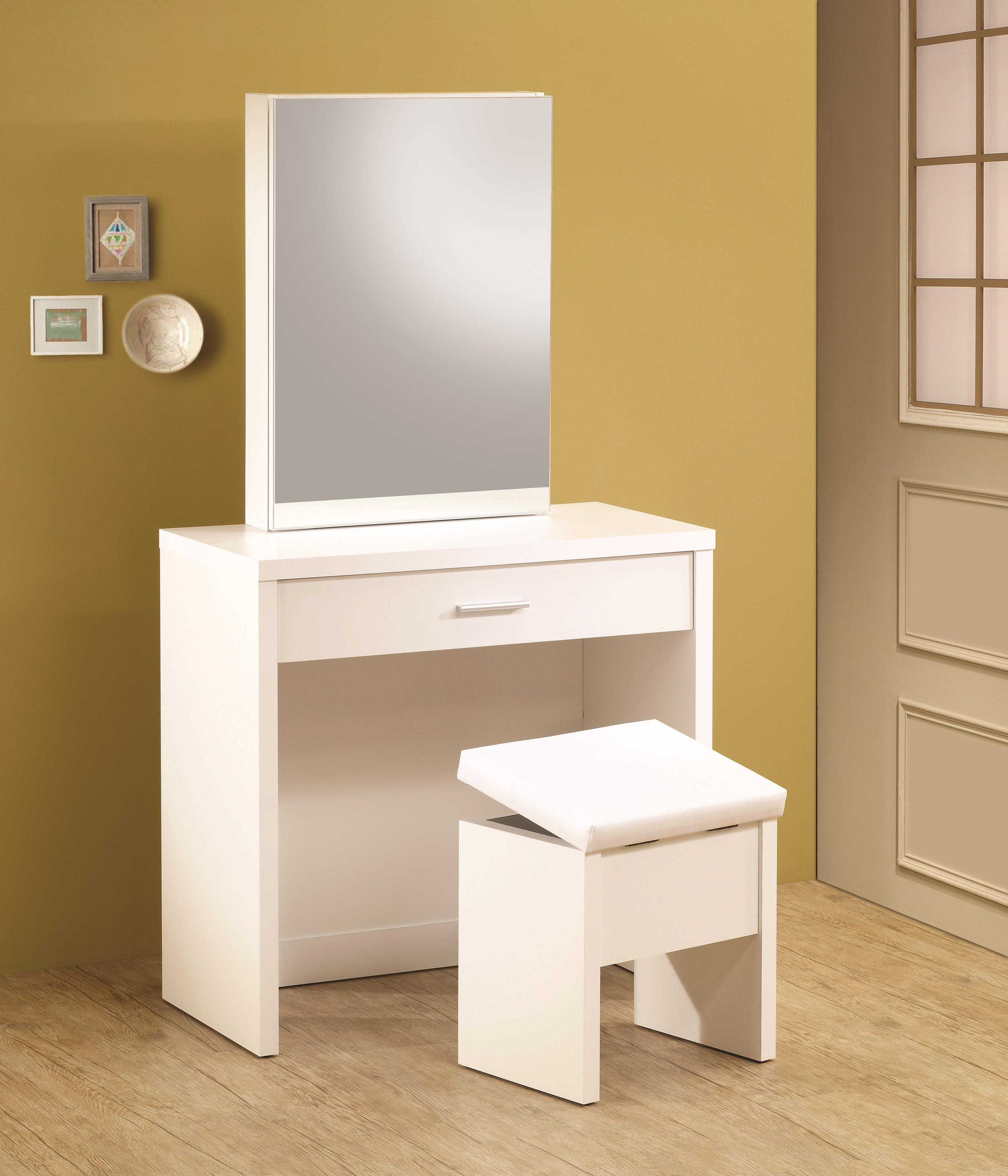 Vanities White Vanity With Hidden Mirror Storage And Lift